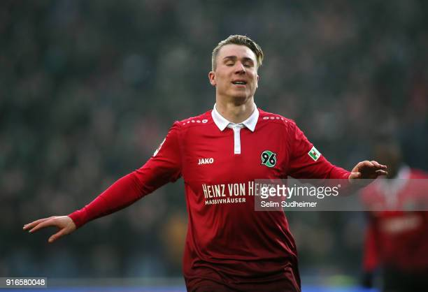 Felix Klaus of Hannover 96 celebrates scoring his team's second goal during the Bundesliga match between Hannover 96 and SportClub Freiburg at...