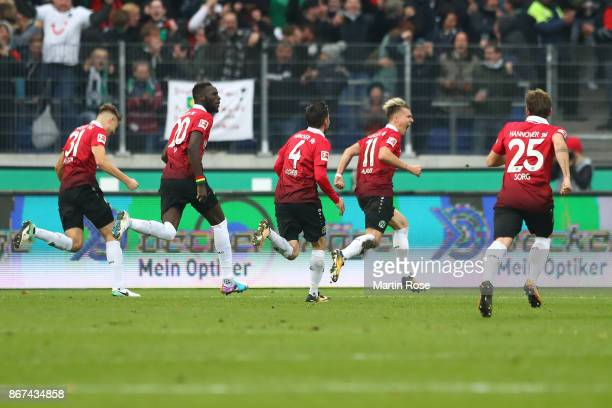 Felix Klaus of Hannover celebrates after he scored his teams third goal to make it 32 during the Bundesliga match between Hannover 96 and Borussia...