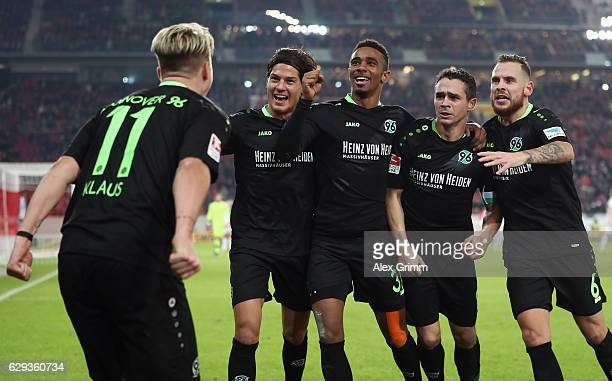Felix Klaus of Hannover celebrates his team's second goal with team mates during the Second Bundesliga match between VfB Stuttgart and Hannover 96 at...