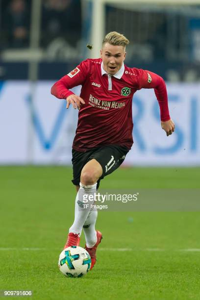 Felix Klaus of Hannover controls the ball during the Bundesliga match between FC Schalke 04 and Hannover 96 at VeltinsArena on January 21 2018 in...