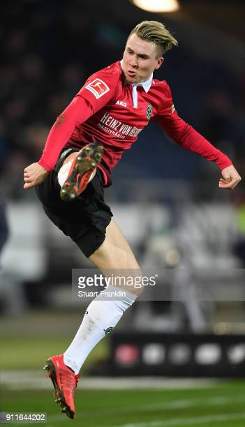 Felix Klaus of Hannover in action during the Bundesliga match between Hannover 96 and VfL Wolfsburg at HDIArena on January 28 2018 in Hanover Germany