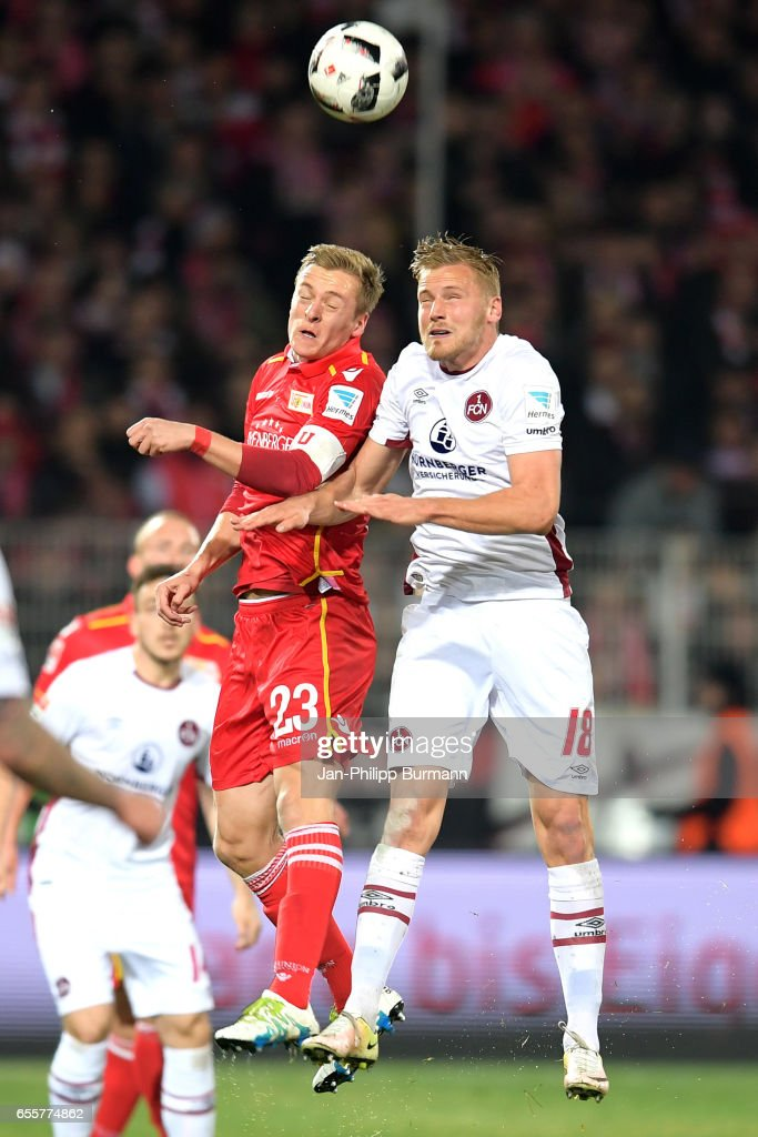 Felix Kroos of 1 FC Union Berlin and Hanno Behrens of 1. FC Nuernberg during the game between 1 FC Union Berlin and 1 FC Nuernberg on March 20, 2017 in Berlin, Germany.