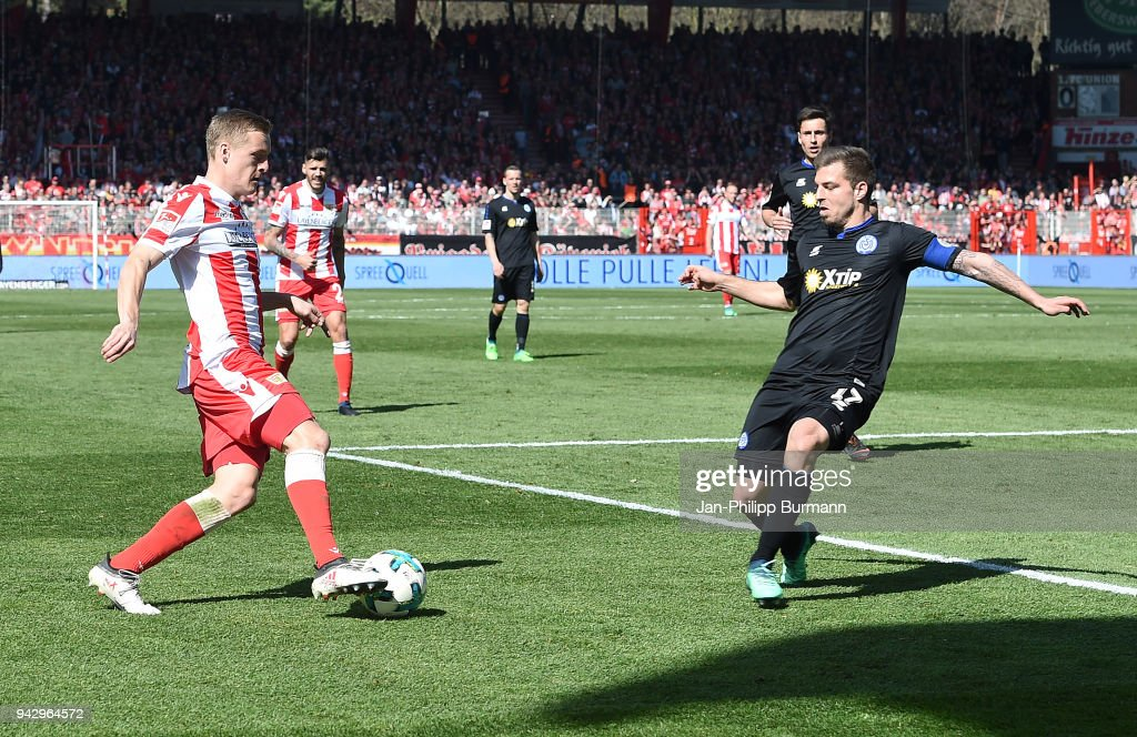 Felix Kroos of 1 FC. Union Berlin and Kevin Wolze of MSV Duisburg during the 2nd Bundesliga game between Union Berlin and MSV Duisburg at Stadion an der alten Foersterei on April 7, 2018 in Berlin, Germany.