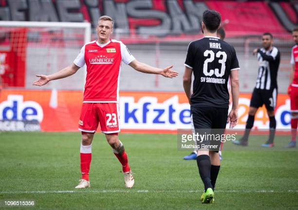 February 09: Felix Kroos of 1 FC Union Berlin and Markus Karl of SV Sandhausen during the game between Union Berlin and SV Sandhausen at the Stadion...