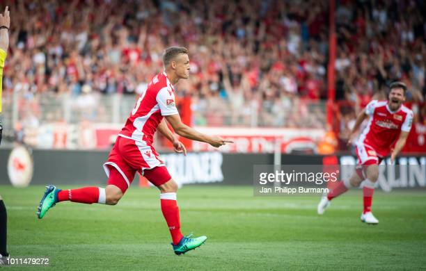 Felix Kroos of 1 FC Union Berlin celebrates after scoring the 1:0 during the 2nd Bundesliga match between Union Berlin and Erzgebirge Aue at Stadion...