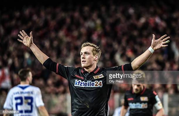 Felix Kroos of 1 FC Union Berlin celebrates after scoring the 1:1 during the game between Union Berlin and Karlsruher SC on February 26, 2016 in...