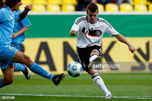 Felix Kroos of Germany shoots the ball during the UEFA U21 Championship qualifying match between Germany and San Marino at the Tivoli stadium on...