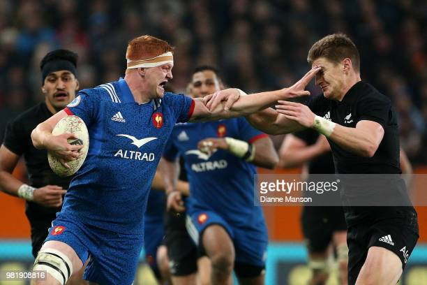 Felix Lambey of France fends off Jordie Barrett of the All Blacks during the International Test match between the New Zealand All Blacks and France...