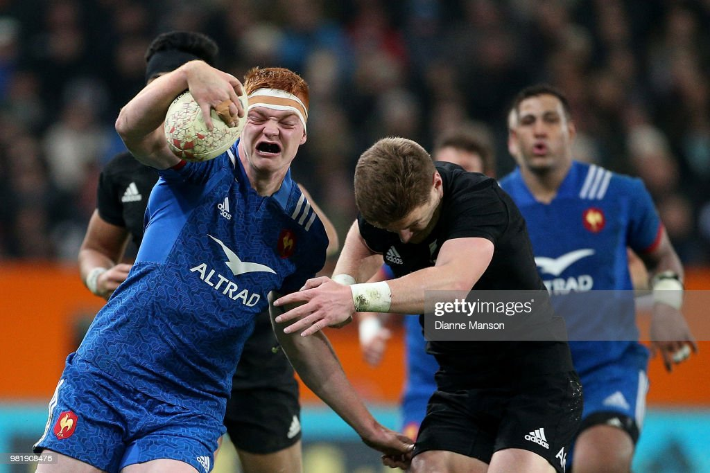 Felix Lambey of France is tackled by Jordie Barrett of the All Blacks during the International Test match between the New Zealand All Blacks and France at Forsyth Barr Stadium on June 23, 2018 in Dunedin, New Zealand.
