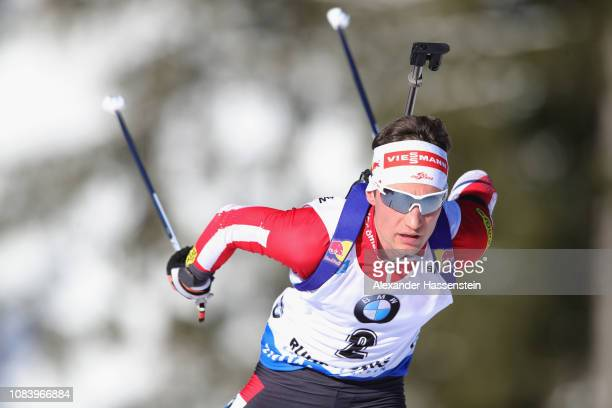 Felix Leitner of Austria competes at the 10 km Men's Sprint during the IBU Biathlon World Cup at Chiemgau Arena on January 17 2019 in Ruhpolding...