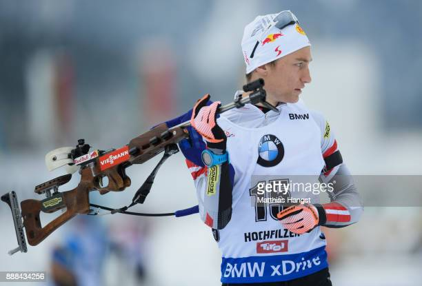 Felix Leitner of Austria in action at the shooting range prior to the 10 km Men's Sprint during the BMW IBU World Cup Biathlon on December 8 2017 in...