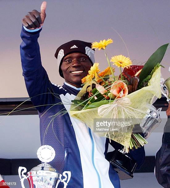 Felix Limo of Kenya celebrates winning during the Rotterdam Marathon on April 4 2004 in Rotterdam Netherland