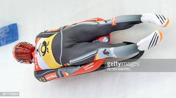 Felix Loch competes to win the men's singles at FIL World Luge Championships in Schoenau am Koenigssee southern Germany on 31 January 2016 / AFP /...
