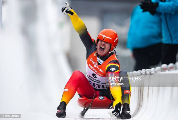 Felix Loch of Germany celebrates after winning the final run of the Luge Men's Single World Championship at Veltins Eis-Arena on January 27, 2019 in...