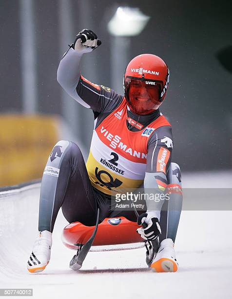 Felix Loch of Germany celebrates victory in the Men's Luge during Day 2 of the Luge World Championships at Deutsche Post Eisarena Koenigssee on...