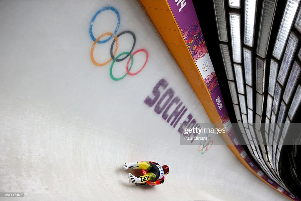 Felix Loch of Germany competes during the Men's Luge Singles on Day 2 of the Sochi 2014 Winter Olympics at Sliding Center Sanki on February 9, 2014 in Sochi, Russia.