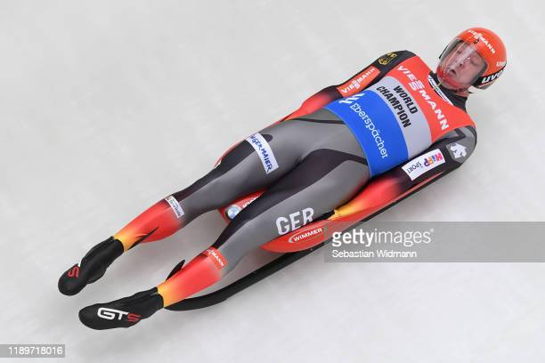 Felix Loch of Germany competes in his first run of the Men's competition during the FIL Luge World Cup at OlympiaRodelbahn on November 24 2019 in...