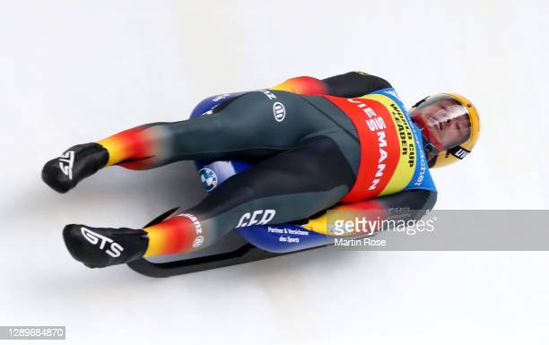 Felix Loch of Germany competes in the 1st run during the men's single in the FIL Luge World Cup at ENSO-Eiskanal on December 06, 2020 in Altenberg,...