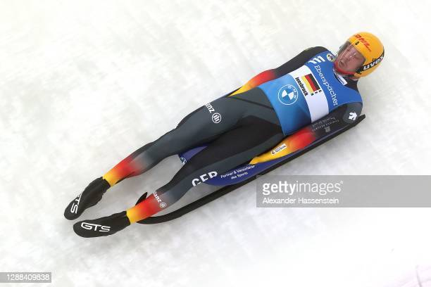 Felix Loch of Germany competes in the Team Relay during the FIL Luge World Cup at Olympia-Rodelbahn on November 29, 2020 in Innsbruck, Austria.
