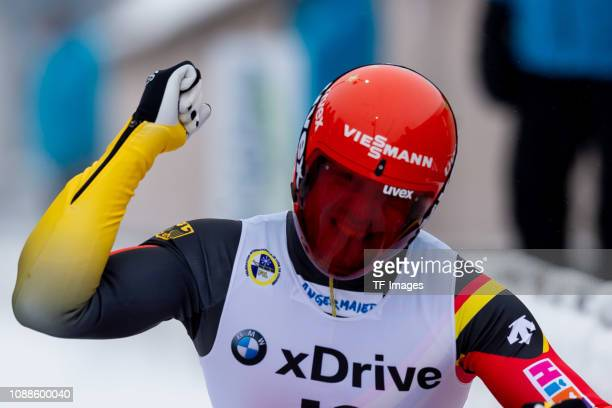 Felix Loch of Germany completes the sprint men's competition of the FIL World Cup at Veltins Eis-Arena on January 25, 2019 in Winterberg, Germany.