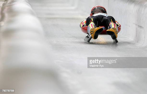 Felix Loch of Germany in action during team competition race of the 40th Luge World Championships at the Rodelbahn Oberhof on January 27 2008 in...