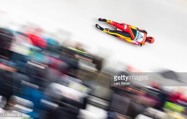 Felix Loch of Germany in action during the first run of the Luge Men's Single World Championship at Veltins EisArena on January 27 2019 in Winterberg...
