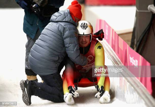 Felix Loch of Germany looks despondent after finishing overall fifth following run 4 during the Luge Men's Singles on day two of the PyeongChang 2018...