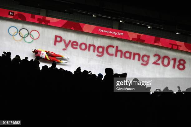 Felix Loch of Germany slides during the Men's Singles Luge on day one of the PyeongChang 2018 Winter Olympic Games at Olympic Sliding Centre on...