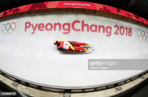 Felix Loch of Germany slides in run 3 during the Luge Men's Singles on day two of the PyeongChang 2018 Winter Olympic Games at Olympic Sliding Centre...