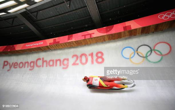 Felix Loch of Germany slides in run 4 during the Luge Men's Singles on day two of the PyeongChang 2018 Winter Olympic Games at Olympic Sliding Centre...