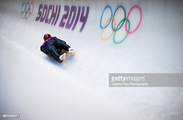 Felix Loch of Germany takes part at the Luge Men's Singles Training session ahead of the Sochi 2014 Winter Olympics at the Sanki Sliding Center on...