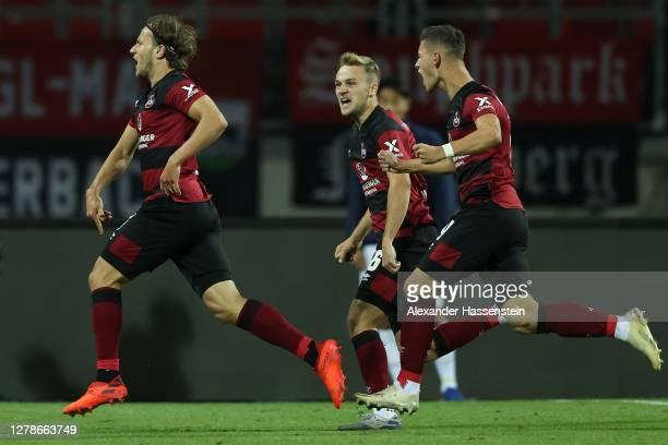 Felix Lohkemper of Nürnberg celebrates scoring the 2nd team goal during the Second Bundesliga match between 1. FC Nürnberg and SV Darmstadt 98 at...