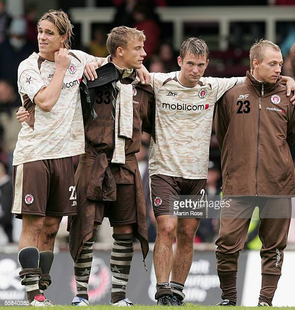 Felix LuxHeiko Ansorge Florian Lechner Dennis Tornieporth Benjamin Adrion of StPauli looked dejected after losing the match of the Third Bundesliga...