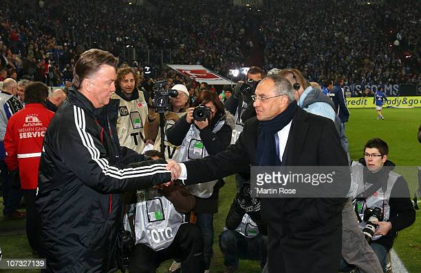 Felix Magath , head coach of Schalke skakes hand with Louis van Gaal , head coach of Bayern Muenchen Before the Bundesliga match between FC Schalke...