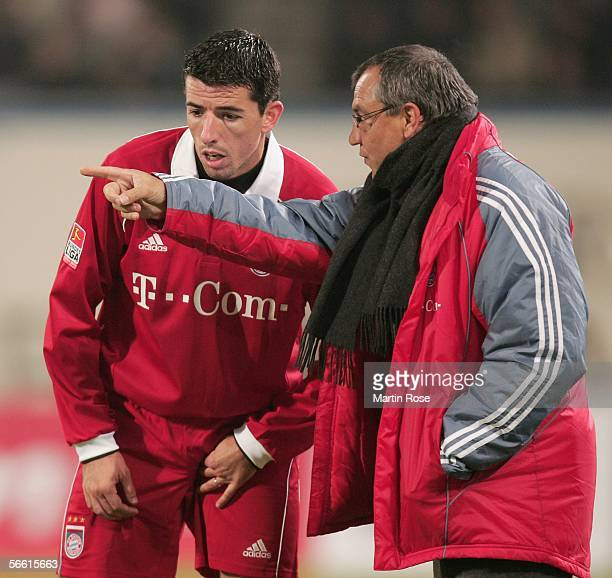Felix Magath headcoach of Bayern gives instructions to Roy Makaay of Bayern during the friendly match between FC Hansa Rostock and Bayern Munich at...