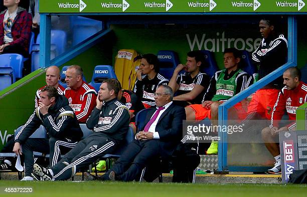 Felix Magath manager of Fulham and the rest of the Fulham bench look on dejected during the Sky Bet Championship match between Reading and Fulham at...