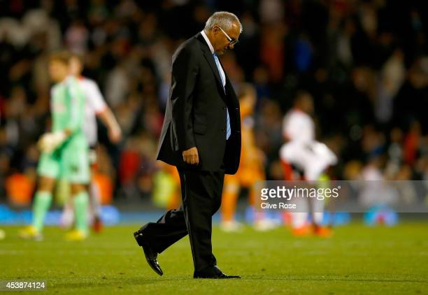 Felix Magath of Fulham walks off the pitch after the Sky Bet Championship match between Fulham and Wolverhampton Wanderers at Craven Cottage on...
