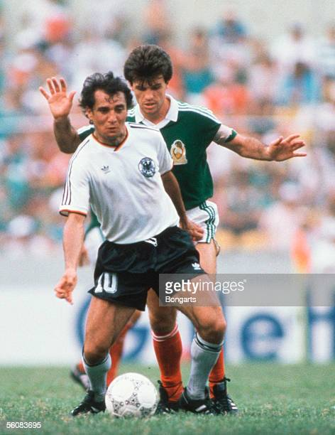 Felix Magath of Germany in action during the World Cup Quarter Final match between Mexico and Germany on June 21 1986 in Monterrey Mexico