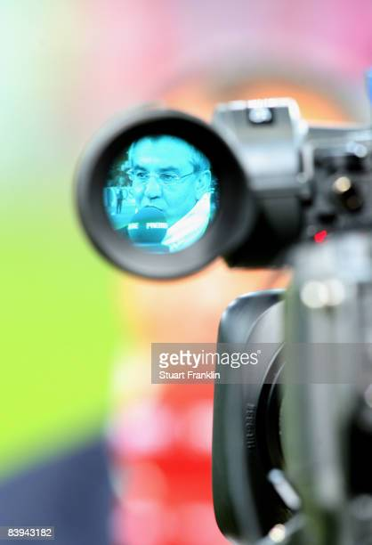 Felix Magath trainer of Wolfsburg during a television interview at the Bundesliga match between VfL Wolfsburg and Hannover 96 at the Volkswagen Arena...