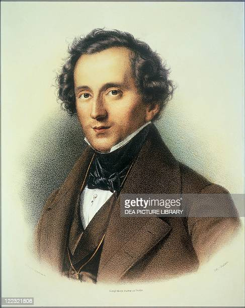 Felix Mendelssohn Bartholdy color lithograph after a painting of Theodor Hildebrand
