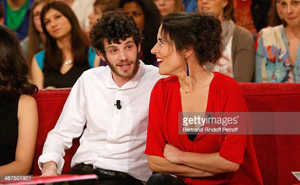 Felix Moati and Mazarine Pingeot attend the 'Vivement Dimanche' French TV Show at Pavillon Gabriel on April 30 2014 in Paris France