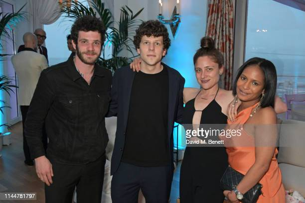 Felix Moati Jesse Eisenberg Anna Strout and guest attend the Vanity Fair party celebrating the 72nd Annual Cannes Film Festival at Hotel du...
