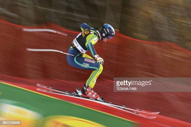 Felix Monsen from Sweden competes during a training for the FIS Alpine World Cup Men Downhill on December 14 2017 in Val Gardena Italian Alps / AFP...