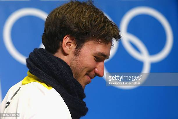 Felix Neureuther arrives for the German Alpine Team press conference at the Gorki Press Centre in the Rosa Khutor Mountain Cluster on February 16...