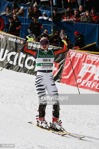 Felix Neureuther of Germany celebrates helping Germany win first place in the National Team Event at the FIS World Ski Championship 2005 on February...
