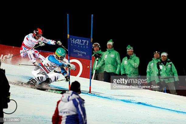 Felix Neureuther of Germany competes during the Audi FIS Alpine Ski World Championships Nation's Team Event on February 12 2013 in Schladming Austria