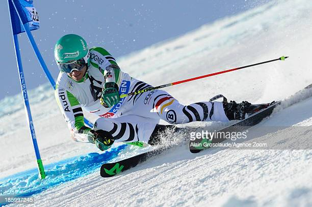 Felix Neureuther of Germany competes during the Audi FIS Alpine Ski World Cup Men's Giant Slalom on October 27 2013 in Soelden Austria