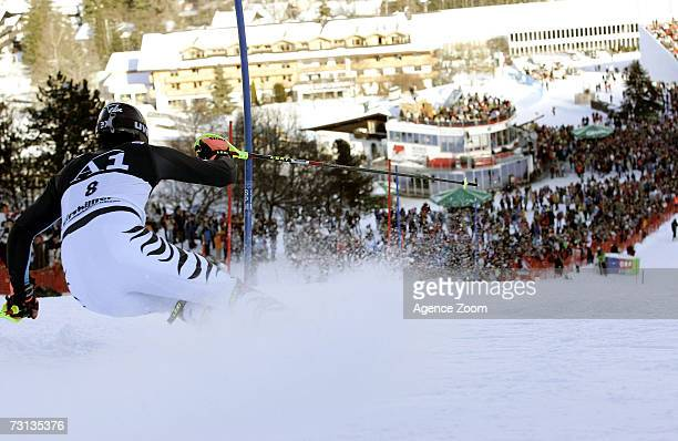Felix Neureuther of Germany competes during the FIS Skiing World Cup Men's Slalom on January 28 2007 in Kitzbuehel Austria