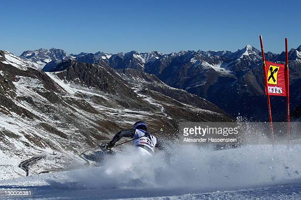 Felix Neureuther of Germany competes in the Men's Giant Slalom event of the Men's Alpine Skiing FIS World Cup at the Rettenbachgletscher on October...