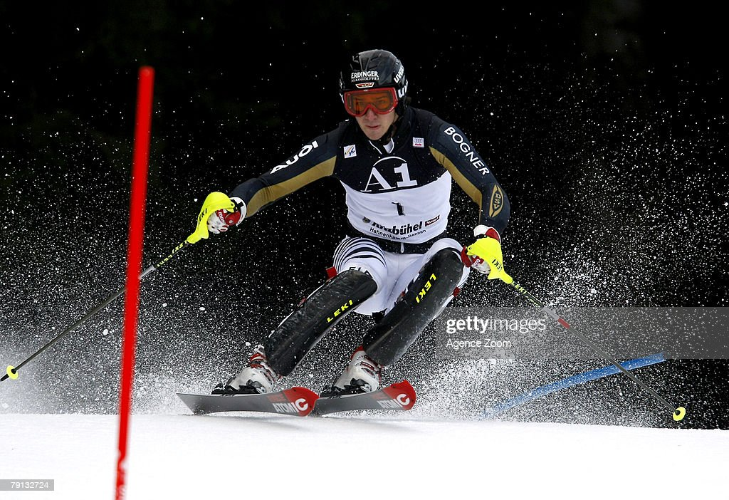 Felix Neureuther of Germany competes taking 6th place during the Alpine FIS Ski World Cup Men's Slalom on January 20, 2008 in Kitzbuehel, Austria. (Photo by Agence Zoom/Getty Images